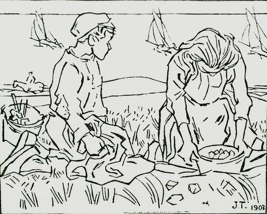 Strandvonders (Beachgoers collecting objects) - JAN TOOROP - woodcut