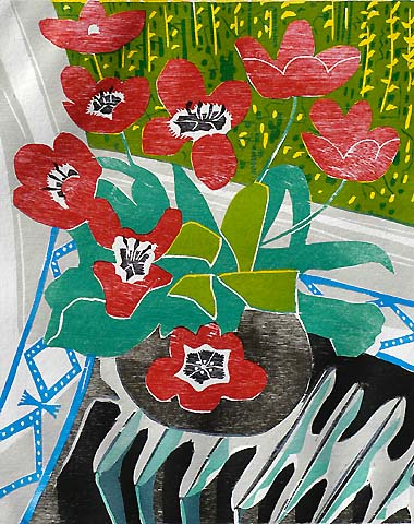 Tulips -   - woodcut printed in colors