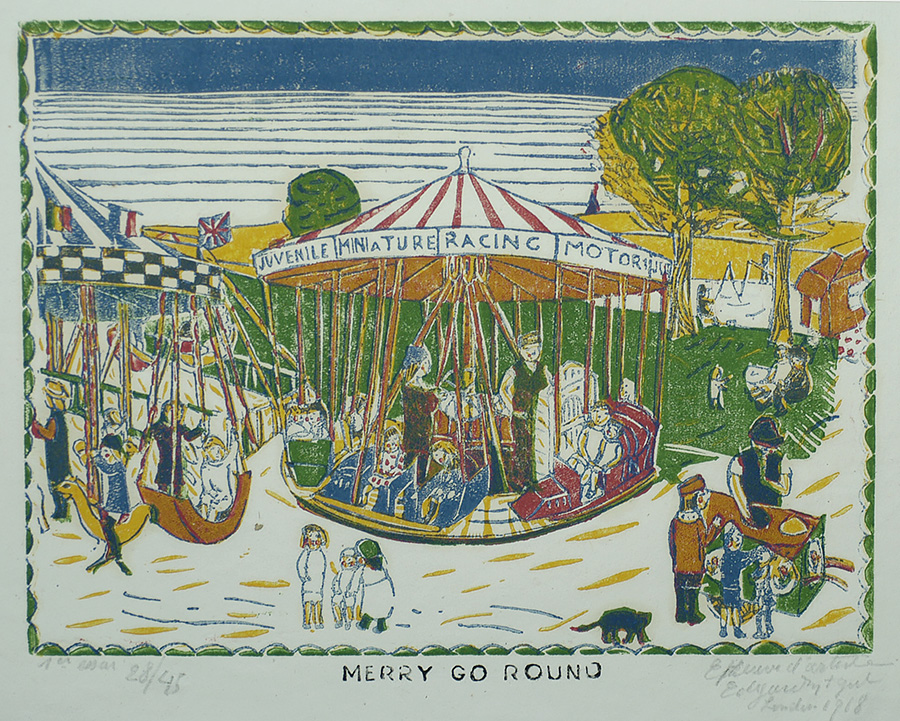 Merry-go-Round - EDGARD TYTGAT - woodcut and linoleum cut printed in colors
