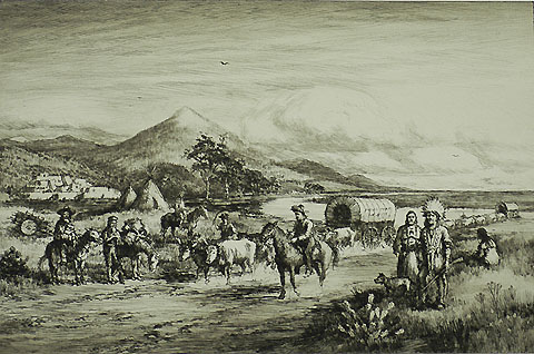 The Old Santa Fe Trail - CHARLES A. VANDERHOOF - etching