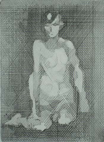 Nu a Genoux - JACQUES VILLON - etching