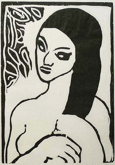 Woman Arranging her Hair (Jeune Fille se Coiffant) - MAURICE DE VLAMINCK - woodcut