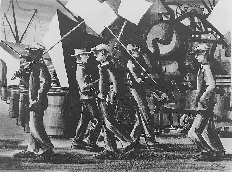 Picket Line - HERMAN VOLZ - lithograph