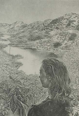 Little Lake among the Dunes  - GIJS (GIJSBERT) VOSKUIJL - lithograph