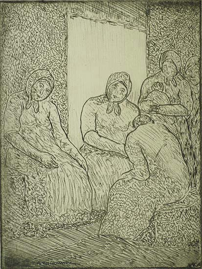 East Side Women - ABRAHAM WALKOWITZ - etching