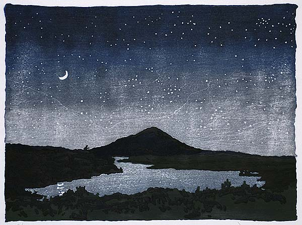 Night Scene - NEILL WELLIVER - woodcut printed in colors from nine blocks