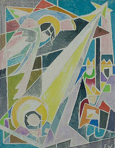 Angel - FEROL SIBLEY WARTHEN - white-line woodcut