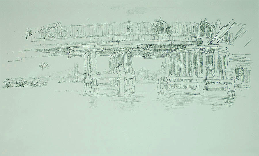 Old Battersea Bridge - JAMES A. MCNEILL WHISTLER - lithograph