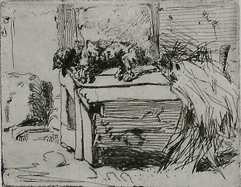 Dog on the Kennel - JAMES A. MCNEILL WHISTLER - etching