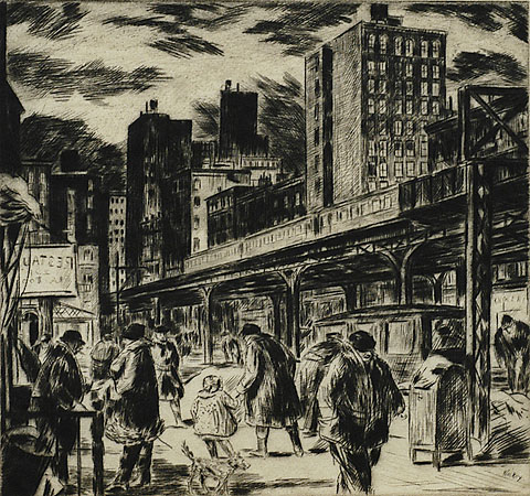 Ninth Avenue, New York - HARRY  WICKEY - drypoint