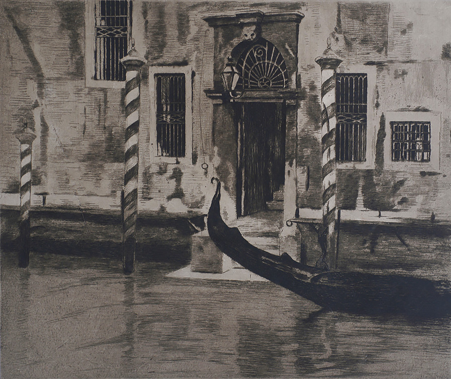 Grand Canal, Venice (Gondel komt aanvaren in het Canale Grande) - WILLEM WITSEN - etching and aquatint