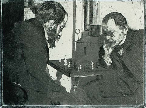 Playing Chess - HEINRICH WOLFF - etching and aquatint printed on chine applique