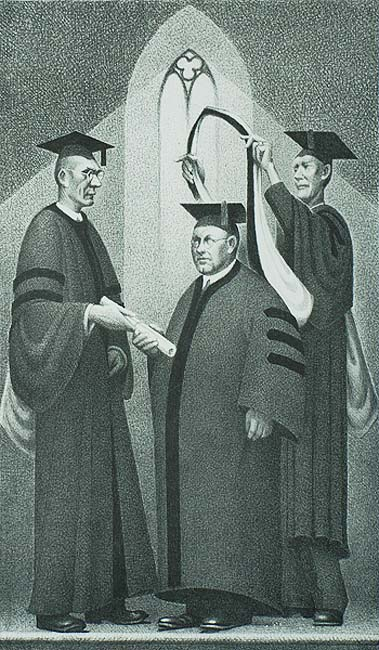 Honorary Degree - GRANT WOOD - lithograph