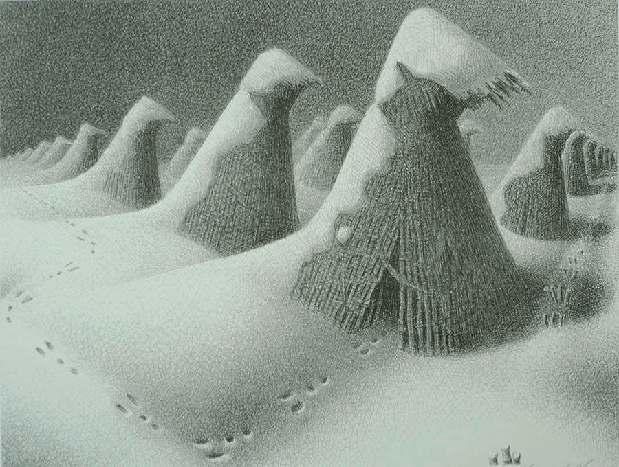 January - GRANT WOOD - lithograph