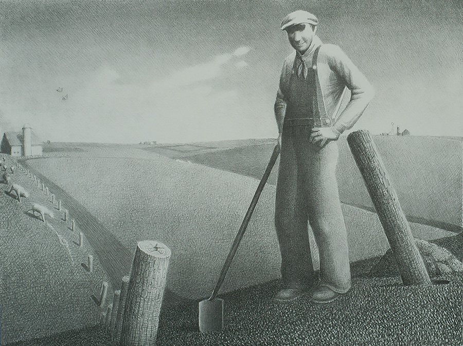 In the Spring - GRANT WOOD - lithograph