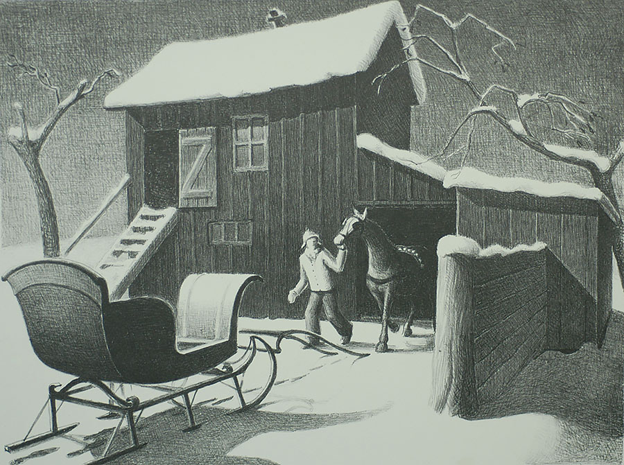 December Afternoon - GRANT WOOD - lithograph