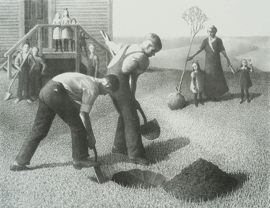 Tree Planting Group - GRANT WOOD - lithograph