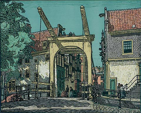 Staalstraat, Amsterdam - WILM WOUTERS - woodcut printed in colors