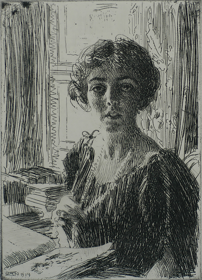 Crown Princess Margaret of Sweden - ANDERS ZORN - etching