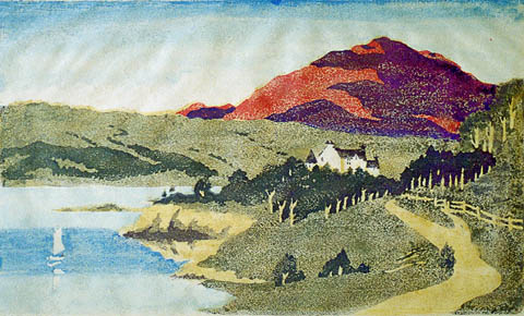 The Road to Taynuilt by Connel - ANN D. ALEXANDER - color woodcut