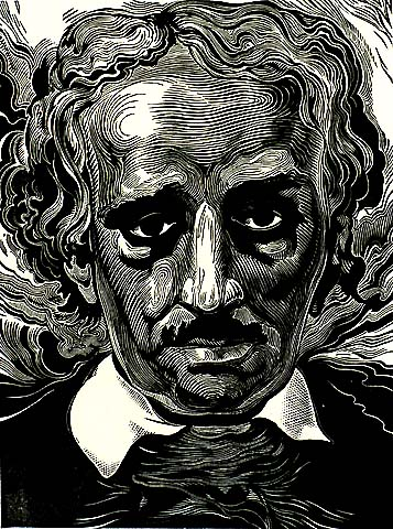 Edgar Allen Poe - LUC DE JAEGHER - wood engraving