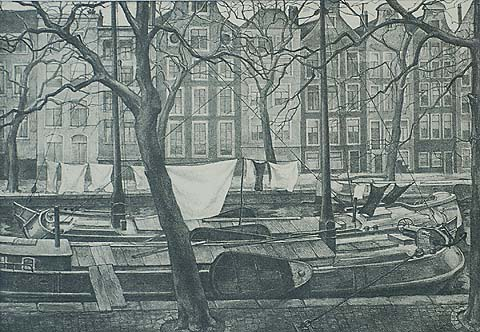 Amsterdam Canal Scene - AART VAN DOBBENBURGH - lithograph