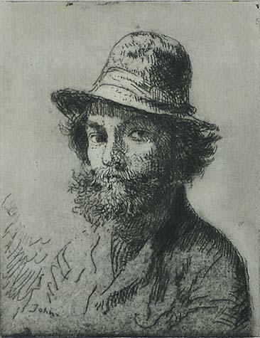 Portrait of the Artist - AUGUSTUS JOHN - etching