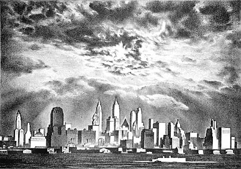 Storm Clouds Above Manhattan - LOUIS LOZOWICK - lithograph