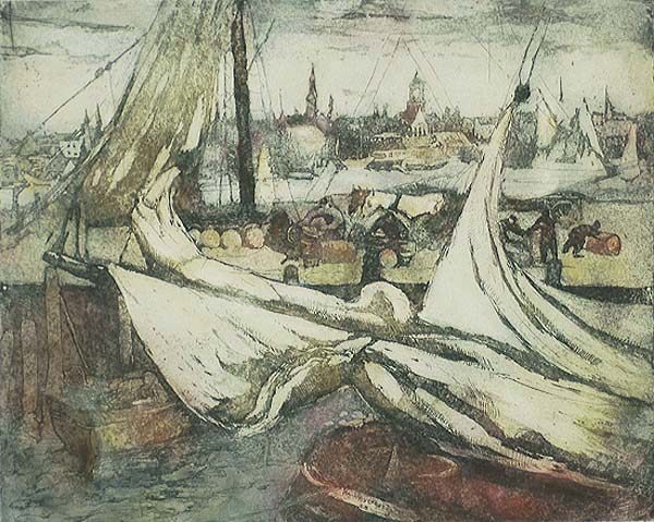 Gloucester Wharves (Massachusetts) - WILLIAM MEYEROWITZ - etching printed in colors