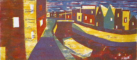 Canal, Amsterdam - HERMANN STAMMESHAUS - color woodcut