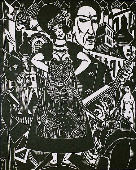 Early Mother Russia (La Petite Mere Russie) - HENRI VAN STRATEN - linoleum cut