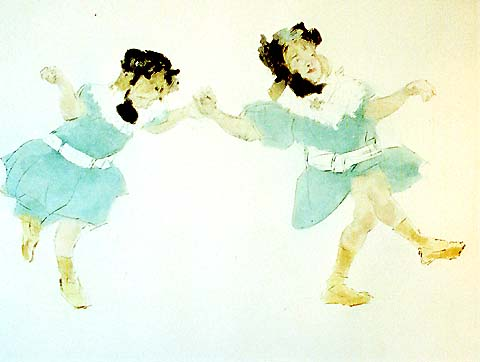 Le Cake Walk des Petites Filles - JACQUES VILLON - drypoint and aquatint printed in colors