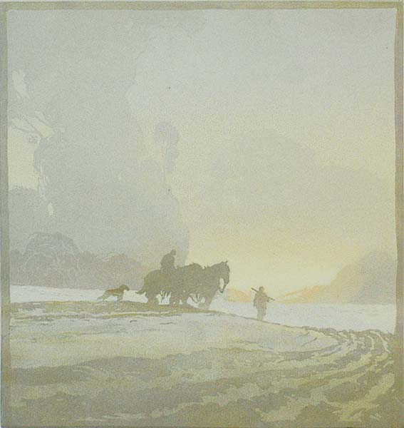 Misty Morning - ERNEST W. WATSON - linoleum cut printed in colors