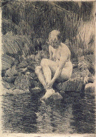 Dagmar - ANDERS ZORN - etching printed with plate tone