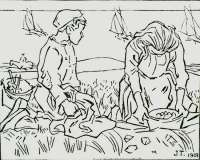 Strandvonders (Beachgoers collecting objects) -  TOOROP