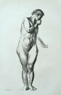Nude Study, Girl Standing with Hand Raised to Mouth -  BELLOWS