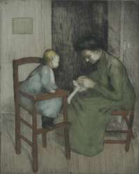 Interior Scene with Mother and Child -  DUPONT