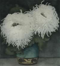 White Chrysanthemum in a Bluegreen Vase (Witte Chrysanten in Blauwgroene Vaasje...) -  EVERBAG