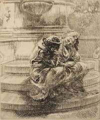 Girls Sitting on Union Square Fountain -  BISHOP