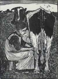 Woman Seated Facing Right, Milking a Cow  (Vrow Zittend naar Rechts, een koe Melkend) -  MANKES
